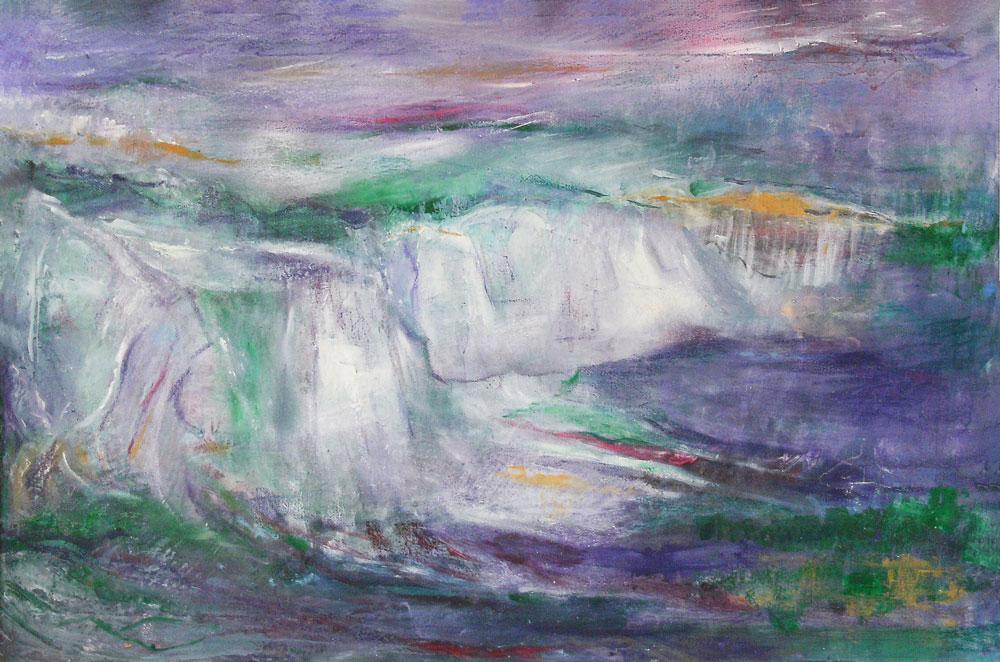 """20. """"Purple Cliffs"""" - acrylic on canvas, 80x55cm, framed"""
