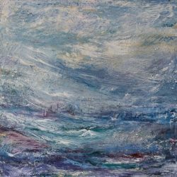 "6. ""Seascape, Blue"" - oil and pastel on canvas 61x61cm, unframed"