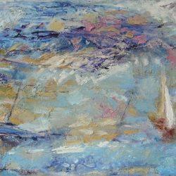 """8. """"Summer Seascape"""" - acrylic on canvas, framed"""