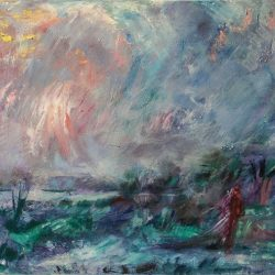 "10. ""Winter Landscape"" - acrylic on canvas 87.5x62cm, framed"