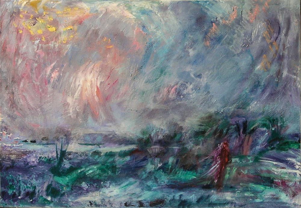 "10. ""Winter Landscape"" - acrylic on canvas 87.5x62cm, framed"