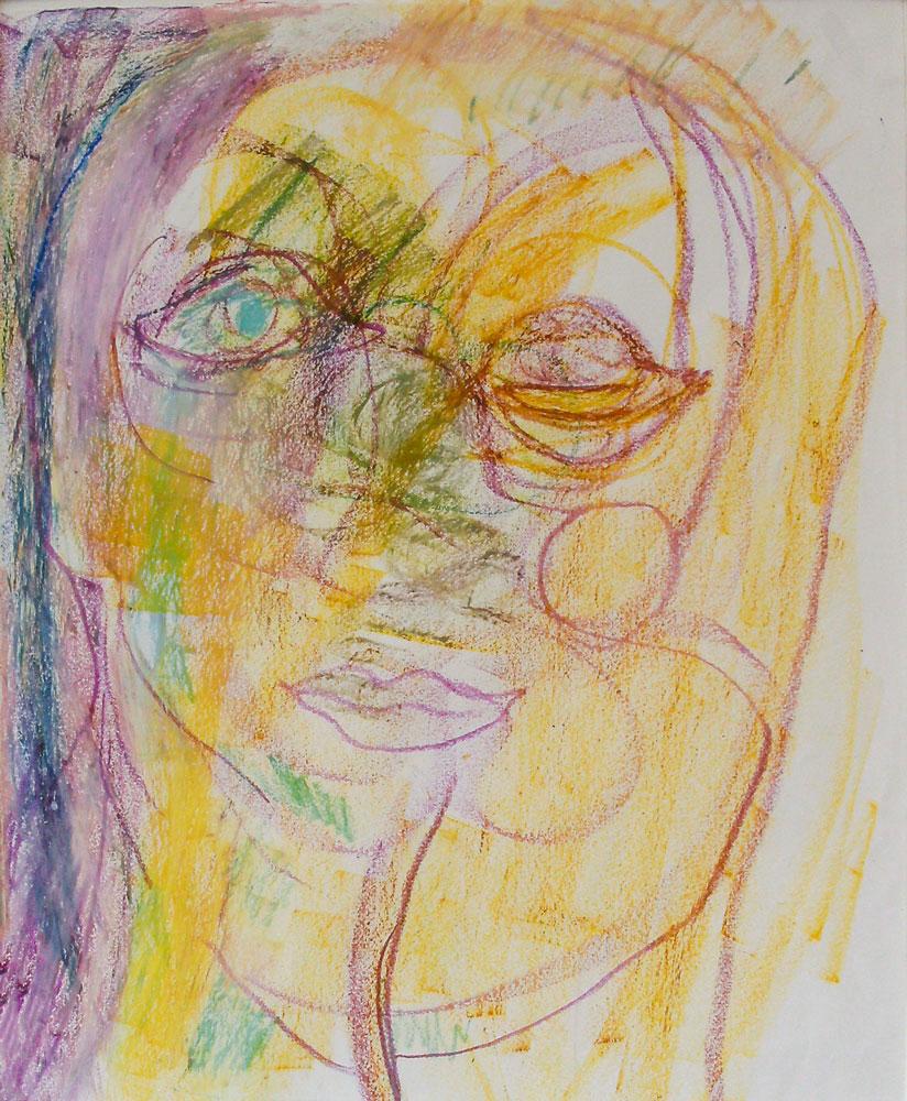 "27. ""Portrait 1"" - oil pastels on paper under glass, 63.5x71cm, framed"