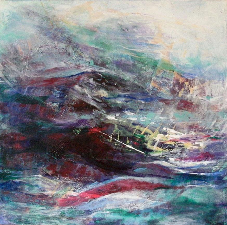 """15 """"Sea Storm"""" - acrylic on canvas, 60x84cm, unframed"""