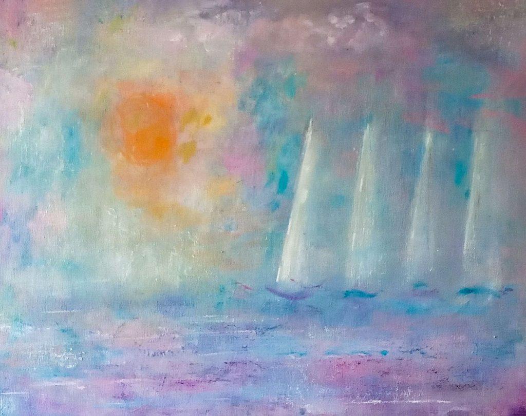 """38. """"Sun and Sails"""" - acrylic & oils on board, 51x40cm"""