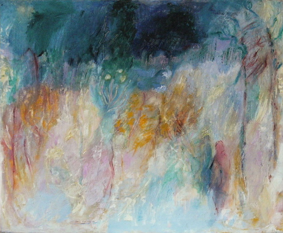 """3. """"Figures in a Landscape"""" - oil on canvas 84x101cm, unframed"""