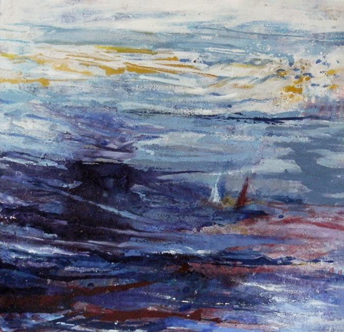 """2. """"Evening Seascape"""" - acrylic on canvas 58.5x65cm"""