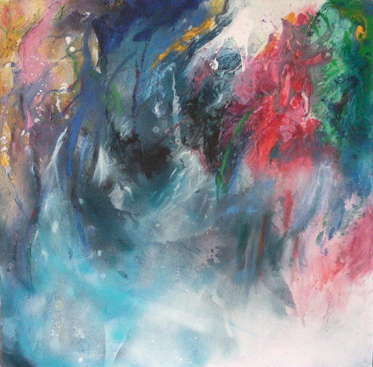 """16. """"Light Through the Forest"""" - spray paint and acrylic on canvas, 80x80cm, unframed"""