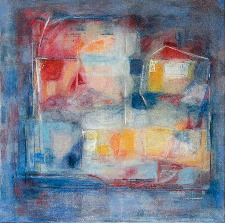 """13. """"Priolo Road"""" - acrylic and pastel on canvas, 63.5x63.5cm"""