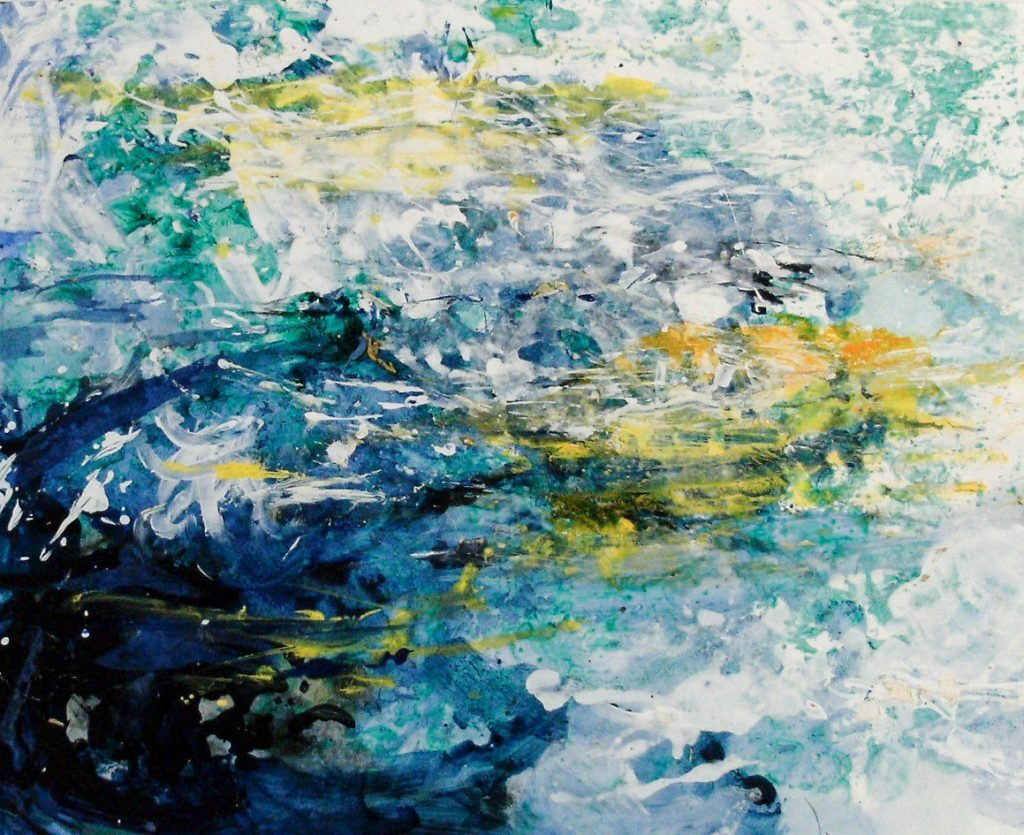 """17. """"Sea Blue and Gold"""" - mixed media on paper 86.5x74cm, unframed"""