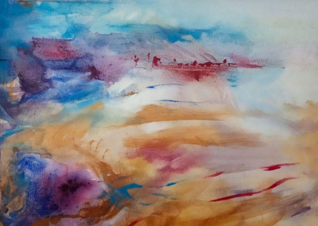 "39. ""Sea Bay"" - acrylic on canvas, 42x36cm (white wood frame)"