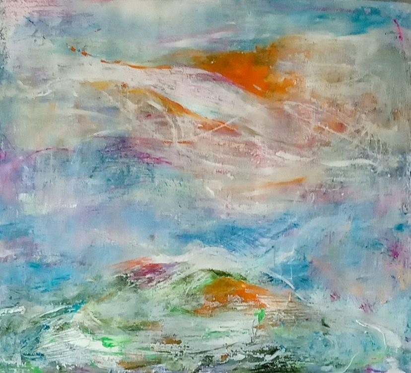 """37. """"Sun Over the Downs"""" - mixed media on paper, 41x56cm"""