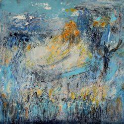 """46. """"Blue Landscape"""" - Oil on board (30x30cm)"""